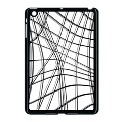 White And Black Warped Lines Apple Ipad Mini Case (black) by Valentinaart