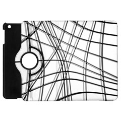 White And Black Warped Lines Apple Ipad Mini Flip 360 Case by Valentinaart