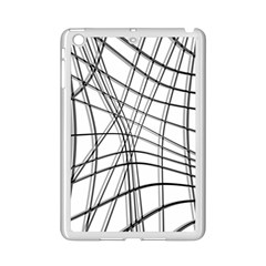White And Black Warped Lines Ipad Mini 2 Enamel Coated Cases by Valentinaart