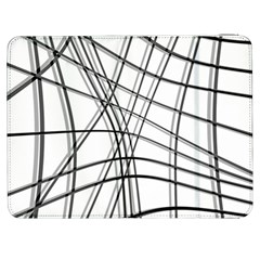 White And Black Warped Lines Samsung Galaxy Tab 7  P1000 Flip Case by Valentinaart