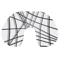 White And Black Warped Lines Travel Neck Pillows