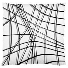 White And Black Warped Lines Standard Flano Cushion Case (two Sides) by Valentinaart