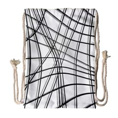 White And Black Warped Lines Drawstring Bag (large) by Valentinaart