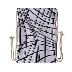 White And Black Warped Lines Drawstring Bag (small) by Valentinaart
