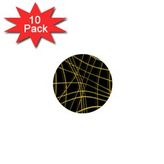 Yellow Abstract Warped Lines 1  Mini Buttons (10 Pack)  by Valentinaart