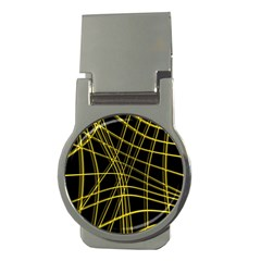 Yellow Abstract Warped Lines Money Clips (round)