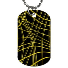 Yellow Abstract Warped Lines Dog Tag (one Side) by Valentinaart