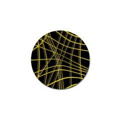 Yellow Abstract Warped Lines Golf Ball Marker (4 Pack)
