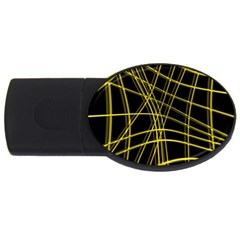 Yellow Abstract Warped Lines Usb Flash Drive Oval (2 Gb)  by Valentinaart