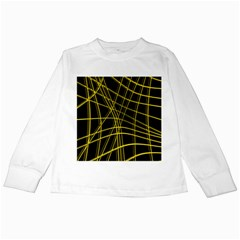 Yellow Abstract Warped Lines Kids Long Sleeve T Shirts by Valentinaart