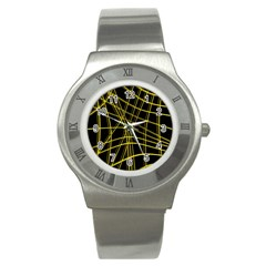 Yellow Abstract Warped Lines Stainless Steel Watch by Valentinaart