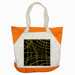 Yellow Abstract Warped Lines Accent Tote Bag by Valentinaart