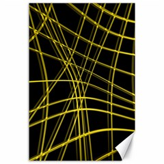 Yellow Abstract Warped Lines Canvas 24  X 36  by Valentinaart