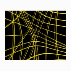Yellow Abstract Warped Lines Small Glasses Cloth (2 Side) by Valentinaart