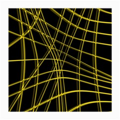 Yellow Abstract Warped Lines Medium Glasses Cloth (2 Side) by Valentinaart