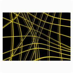 Yellow Abstract Warped Lines Large Glasses Cloth (2-side) by Valentinaart