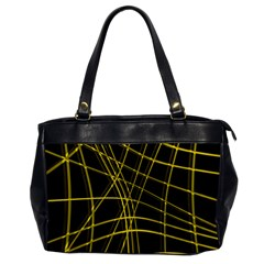 Yellow Abstract Warped Lines Office Handbags by Valentinaart