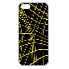 Yellow Abstract Warped Lines Apple Seamless Iphone 5 Case (clear) by Valentinaart