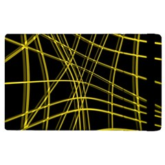 Yellow Abstract Warped Lines Apple Ipad 2 Flip Case by Valentinaart