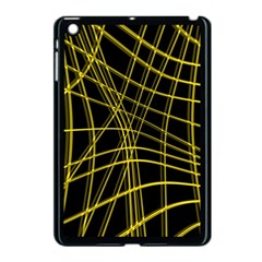 Yellow Abstract Warped Lines Apple Ipad Mini Case (black) by Valentinaart