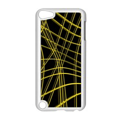 Yellow Abstract Warped Lines Apple Ipod Touch 5 Case (white) by Valentinaart