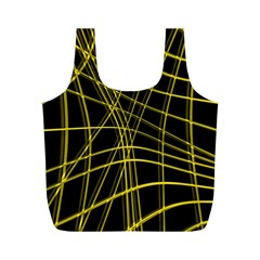 Yellow Abstract Warped Lines Full Print Recycle Bags (m)  by Valentinaart