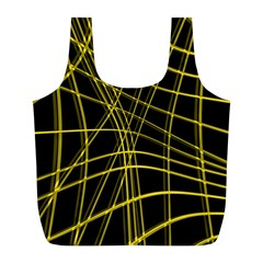 Yellow Abstract Warped Lines Full Print Recycle Bags (l)  by Valentinaart