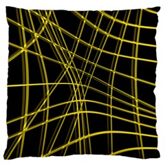 Yellow Abstract Warped Lines Standard Flano Cushion Case (two Sides) by Valentinaart