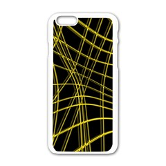 Yellow Abstract Warped Lines Apple Iphone 6/6s White Enamel Case by Valentinaart