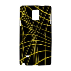 Yellow Abstract Warped Lines Samsung Galaxy Note 4 Hardshell Case by Valentinaart