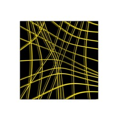 Yellow Abstract Warped Lines Satin Bandana Scarf by Valentinaart