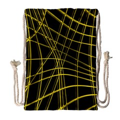 Yellow Abstract Warped Lines Drawstring Bag (large) by Valentinaart