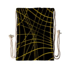 Yellow Abstract Warped Lines Drawstring Bag (small) by Valentinaart