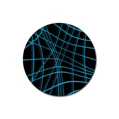 Cyan And Black Warped Lines Rubber Coaster (round)  by Valentinaart