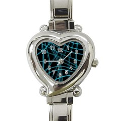 Cyan And Black Warped Lines Heart Italian Charm Watch by Valentinaart