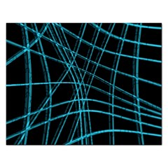 Cyan And Black Warped Lines Rectangular Jigsaw Puzzl by Valentinaart