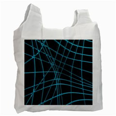 Cyan And Black Warped Lines Recycle Bag (one Side) by Valentinaart