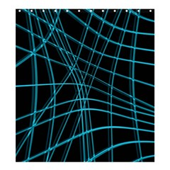 Cyan And Black Warped Lines Shower Curtain 66  X 72  (large)  by Valentinaart