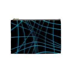 Cyan And Black Warped Lines Cosmetic Bag (medium)  by Valentinaart