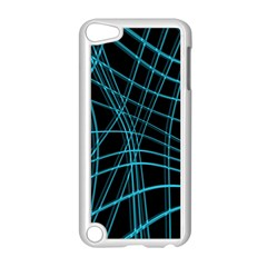 Cyan And Black Warped Lines Apple Ipod Touch 5 Case (white) by Valentinaart