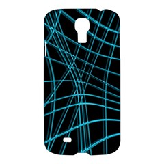 Cyan And Black Warped Lines Samsung Galaxy S4 I9500/i9505 Hardshell Case by Valentinaart