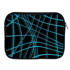 Cyan And Black Warped Lines Apple Ipad 2/3/4 Zipper Cases by Valentinaart