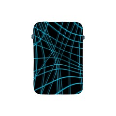 Cyan And Black Warped Lines Apple Ipad Mini Protective Soft Cases by Valentinaart