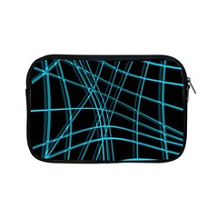 Cyan And Black Warped Lines Apple Ipad Mini Zipper Cases by Valentinaart