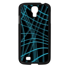 Cyan And Black Warped Lines Samsung Galaxy S4 I9500/ I9505 Case (black) by Valentinaart