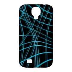 Cyan And Black Warped Lines Samsung Galaxy S4 Classic Hardshell Case (pc+silicone) by Valentinaart