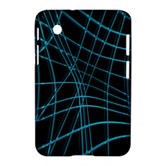 Cyan And Black Warped Lines Samsung Galaxy Tab 2 (7 ) P3100 Hardshell Case  by Valentinaart