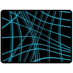 Cyan And Black Warped Lines Double Sided Fleece Blanket (large)  by Valentinaart