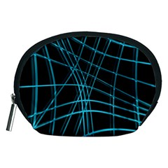 Cyan And Black Warped Lines Accessory Pouches (medium)  by Valentinaart