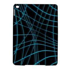 Cyan And Black Warped Lines Ipad Air 2 Hardshell Cases by Valentinaart